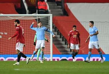 La celebración de John Stones, autor del gol del City. Foto: AFP