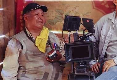 Freddy Delgado en pleno trabajo de filmación