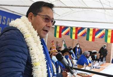 El presidente en el acto de aniversario de las Bartolinas (Foto: ABI)