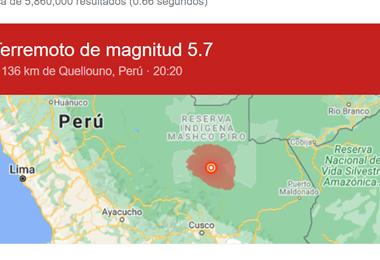Lugar del epicentro del sismo