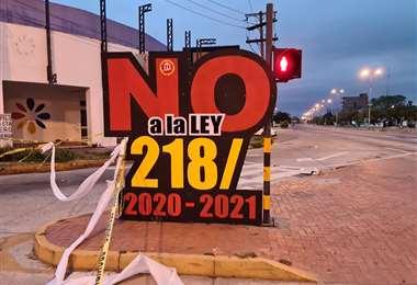 Punto de bloqueo en el segundo anillo y avenida Paraguá/Foto: Juan Manuel Ijurko