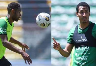 Marc Enoumba (izq.) y Jairo Quinteros pintan para titulares. Fotos: FBF