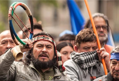 Mapuches protestan contra el Gobierno de Piñeira. Foto: DW