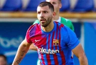 Agüero se motiva con un gol antes de su debut oficial en el Barcelona. Foto: Internet