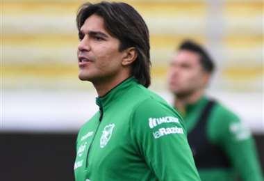 Marcelo Martins en el entrenamiento de este martes con la selección. Foto: FBF