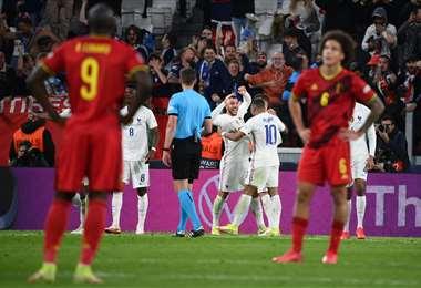 El festejo por el gol de la victoria francesa que marcóTheo Hernandez. Foto: AFP