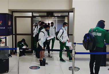 La selección llegó a La Paz este viernes. Foto. FBF