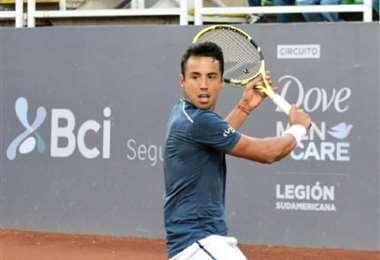 Hugo Dellien llegó hasta cuartos de final en el Challeger de Santiago. Foto: Ch. Santiago