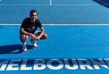 Dellien volvió a entrenarse en una cancha de tenis. Foto: Hugo Dellien