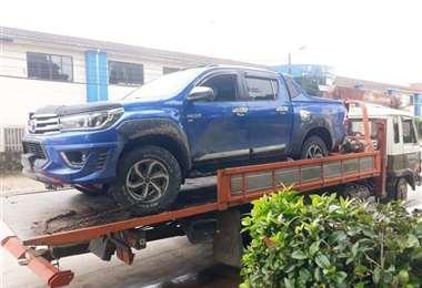 a camioneta fue recuperada por la policía de Yapacaní