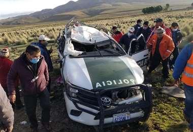Vehículo policial implicado en el accidente/Foto: Policía de Oruro