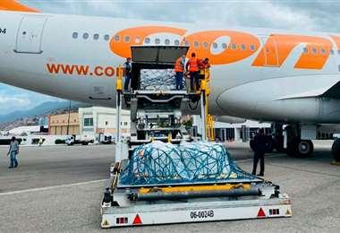 Las dosis llegaron en un avión de la aerolínea estatal. Foto: Telam