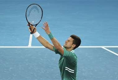 Novak Djokovic celebrando su victoria. Foto: AFP