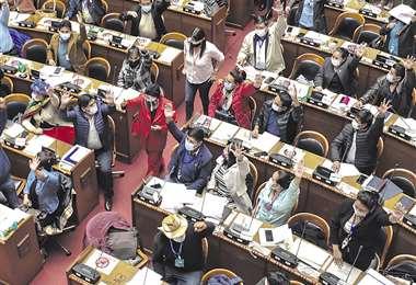 Legisladores aprobando la Ley de Indulto. Foto ABI