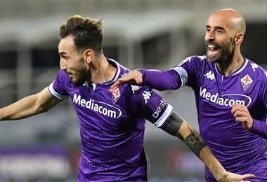 Los jugadores de Fiorentina celebrando la goleada. Foto: @acffiorentina