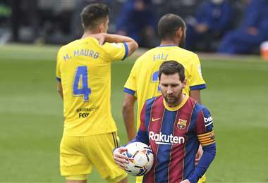 Messi marcó el único gol del equipo culé. Foto: AFP