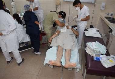 El acusado fue llevado a un centro medico tras herir a su exmuje