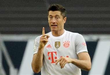 Robert Lewandowski celebrando su gol del sábado. Foto: AFP