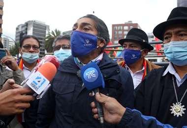 Yaku Pérez declarando a la prensa/Foto:AFP