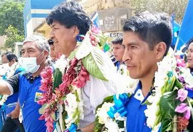 El expresidente ingresando a la población de Caranavi (Foto: Evo Morales)