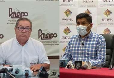 Flores (der.) y Huanca (izq.) encabezaron la reunión ayer