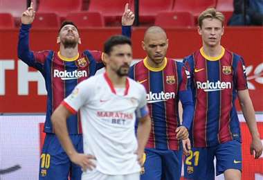 Messi marcó un gol este sábado ante Sevilla. Foto: AFP
