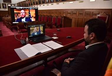 El presidente del Tribunal Supremo de Justicia en reunión virtual