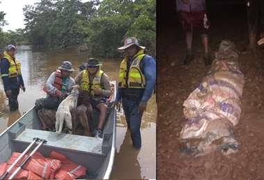 Animales también fueron rescatados (izq.), el fallecido (der) fue trasladado al Trópico