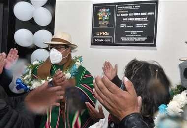 El presidente inaugurando una obra en Oruro (Foto: ABI)