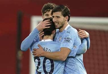 La celebración de los jugadores del City. Foto: AFP