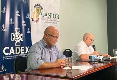 Dirigentes de la Cadex y Caniob, en conferencia de prensa/Foto: Cadex