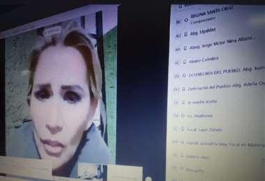 La expresidenta Jeanine Áñez, durante su audiencia virtual
