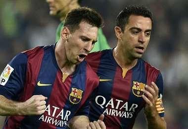 Messi y Xavi fueron compañeros muchos años en el Barcelona. Foto: Internet