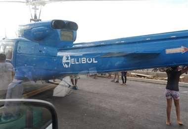 Helicóptero usado por el MAS para la campaña