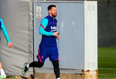Messi durante el entrenamiento. Foto: @FCBarcelona_es