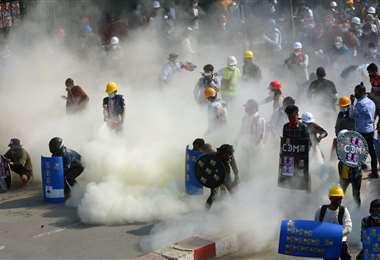 Protesta en Birmania/Foto: AFP