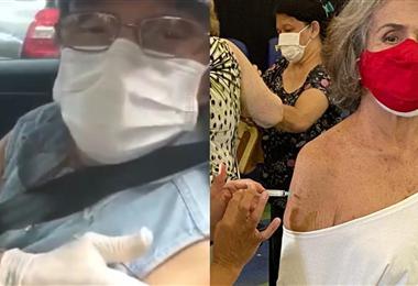 Roberto Carlos y Betty Faria al momento de recibir la vacuna