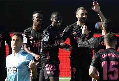 Benzema anotó dos goles ante Celta de Vigo. Foto: AFP