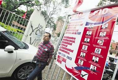 El clima electoral se tensiona en la Uagrm. Foto Juan Carlos Torrejón