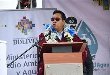 El presidente durante el acto en El Alto I ABI.