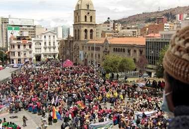 Los masistas celebraron un cabildo en la plaza San Francisco (Foto: APG Noticias)