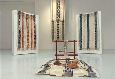 Parte de la exposición de tejidos iseseños en el Museo de la Ciudad
