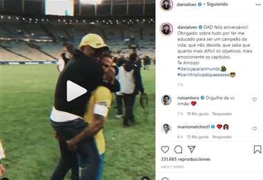 Captura de pantalla del video que publicó Dani Alves