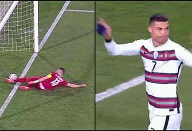 CR7 no lo podía creer. Su gol no fue convalidado. Foto: Captura de Pantalla