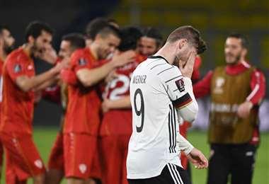 Alemania perdió después de 17 victorias consecutivas en eliminatorias. Foto: AFP