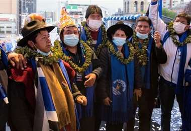 La plana mayor del pacto de unidad con Evo Morales en San Francisco