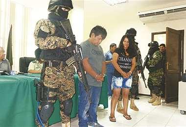 Lidia Cayola cuando fue detenida en 2016 con su pareja