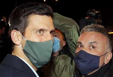 Djokovic celebró con su familia. Foto: AFP
