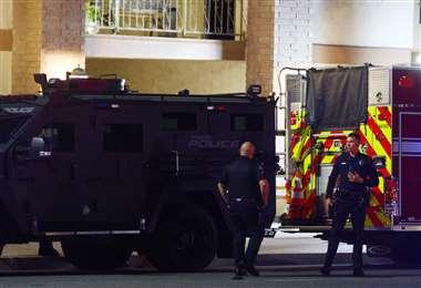 El tiroteo ocurrió en el último piso de un pequeño edificio de oficinas. Foto AFP