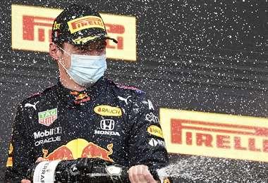 Max Verstappen celebrando su triunfo. Foto: AFP